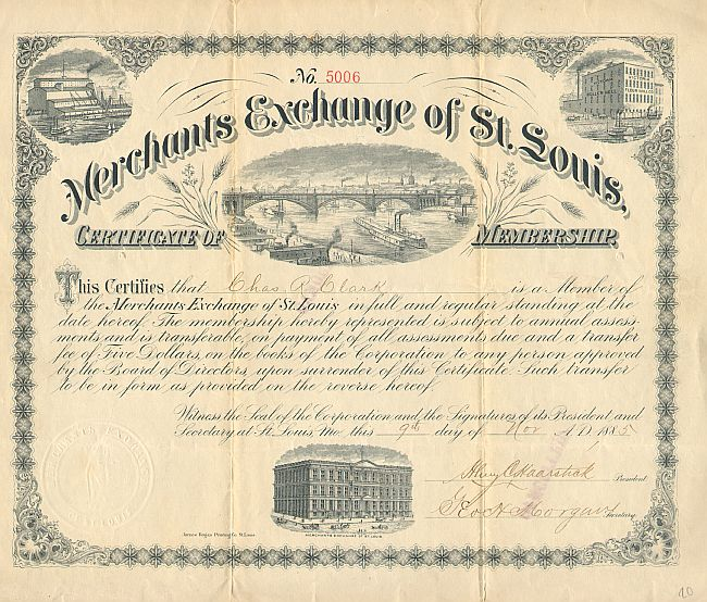 Merchants Exchange of St. Louis historic stocks - old certificates