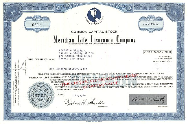 Meridian Life Insurance Company historic stocks - old certificates