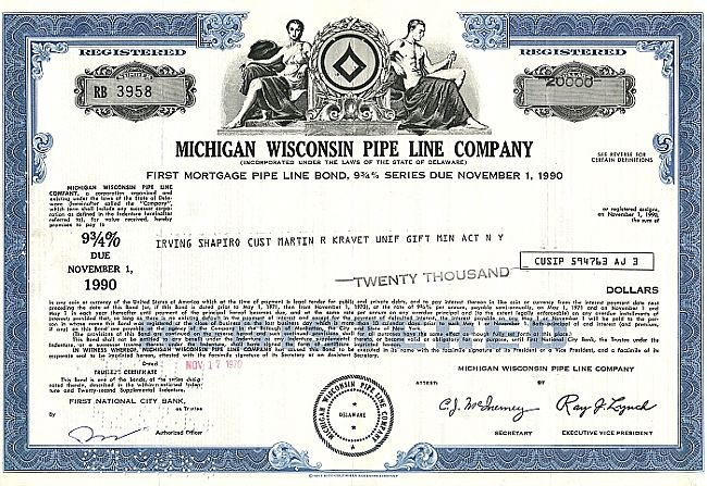 Michigan Wisconsin Pipe Line Company historic stocks - old certificates
