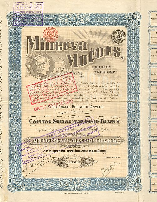 Minerva Motors -  historic stocks - old certificates Automobiles