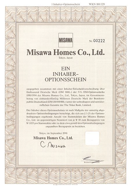 Misawa Homes Co. historic stocks - old certificates
