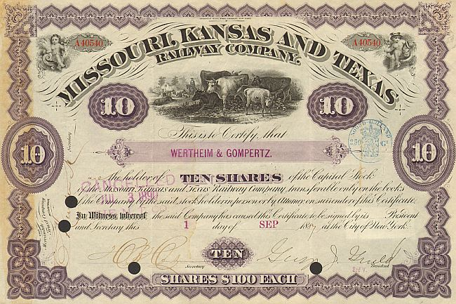 Missouri, Kansas and Texas Railway Company (Autograph Gloud) historic stocks - old certificates