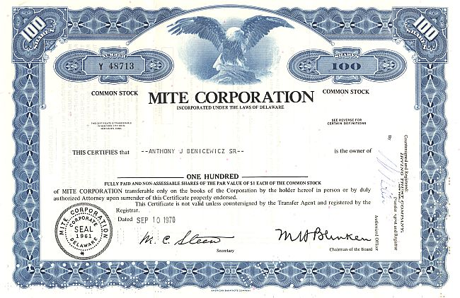 Mite Corporation historic stocks - old certificates