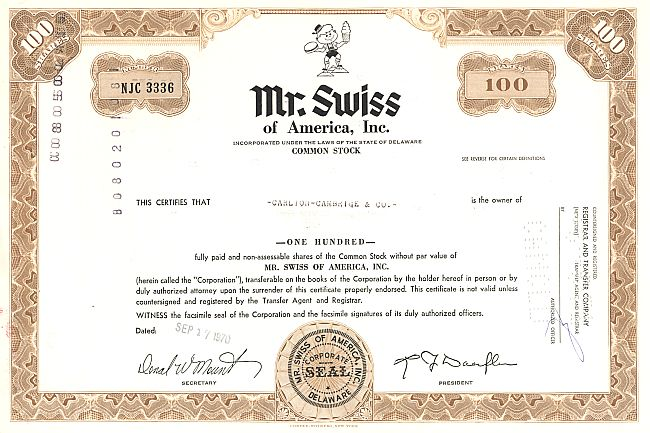 Mister Swiss of America Inc. historic stocks - old certificates