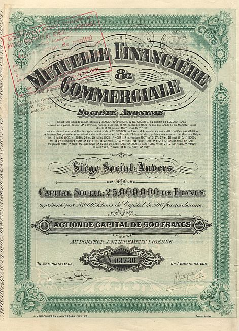 Mutuelle Financiere & Commerciale historic stocks - old certificates