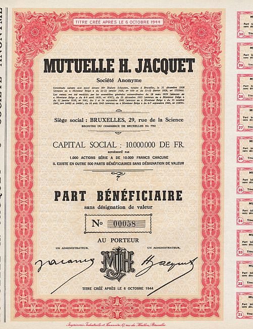 Mutuelle H. Jacquet historic stocks - old certificates