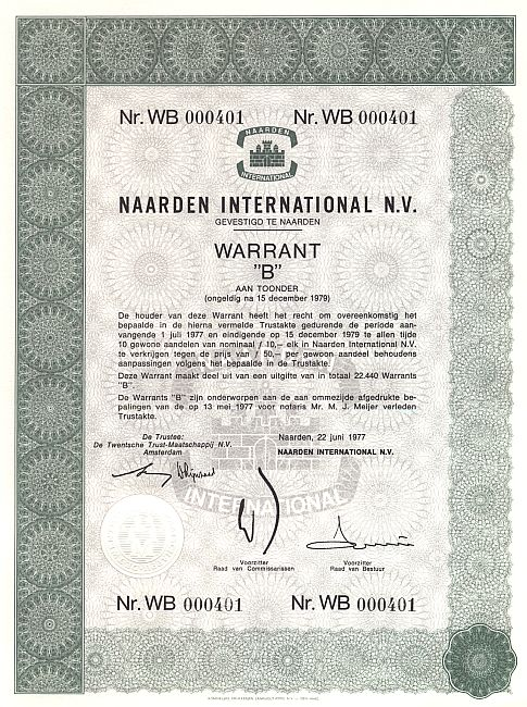 Naarden International N. V. historic stocks - old certificates