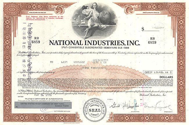 National Industries, Inc. historic stocks - old certificates