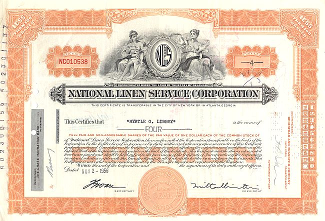 National Linen Service Corporation historic stocks - old certificates