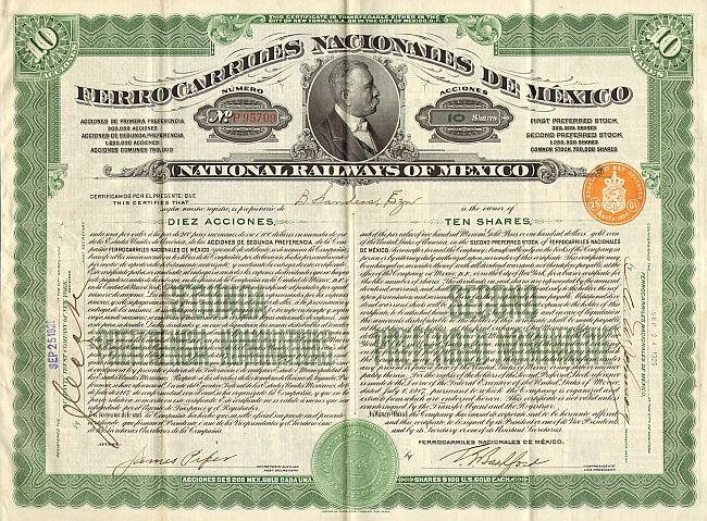 National Railways of Mexico historic stocks - old certificates