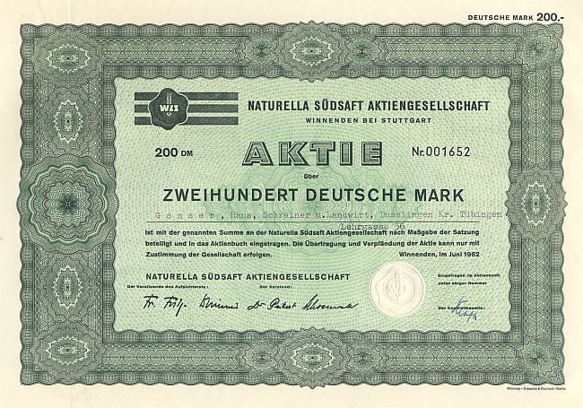 Naturella Südsaft Aktiengesellschaft (1962) historic stocks - old certificates