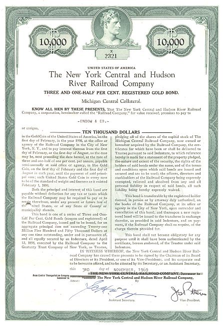 New York Central and Hudson River Railroad historische Wertpapiere - alte Aktien