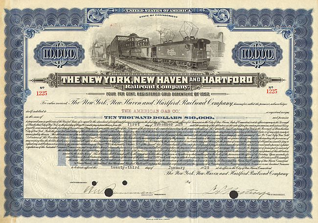 New York New Haven and Hartford Railroad Company historic stocks - old certificates