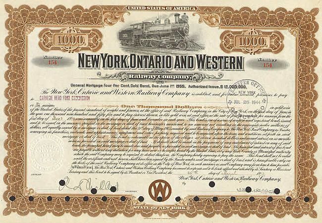 New York, Ontario and Western Railway Company historic stocks - old certificates