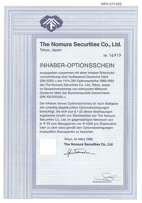 Nomura Securities Co. historic stocks - old certificates