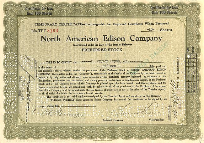 North American Edison Company Temporary Certificate historic stocks - old certificates