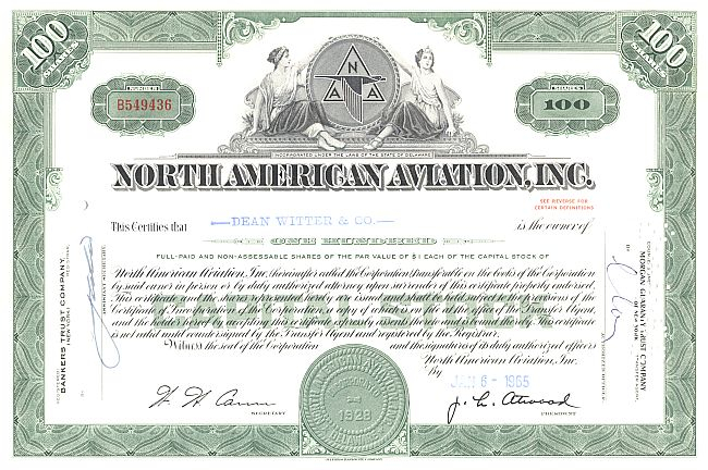 North American Aviation Inc. historische Wertpapiere - alte Aktien