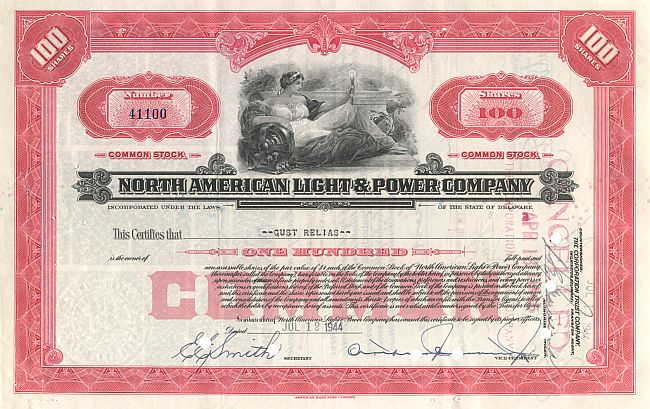 North American Light & Power Company historische Wertpapiere - alte Aktien