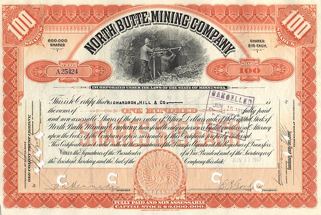 North Butte Mining Company historic stocks - old certificates