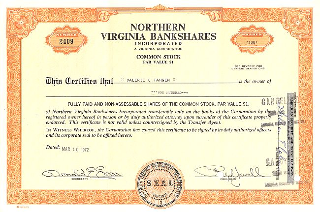 Northern Virginia Bankshares historic stocks - old certificates