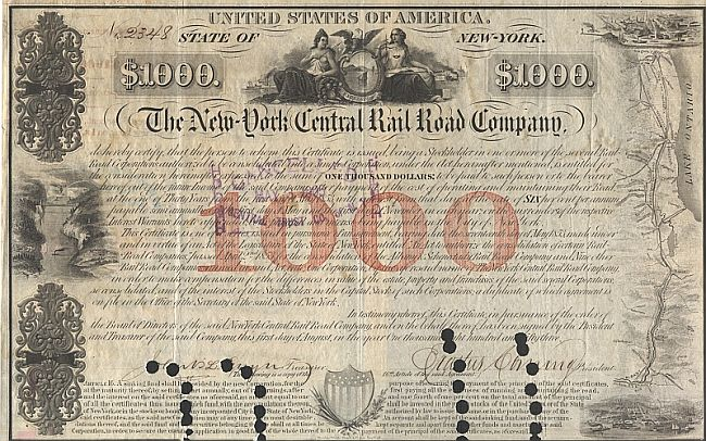 New York Central Railroad Company (Autograph Corning) historic stocks - old certificates