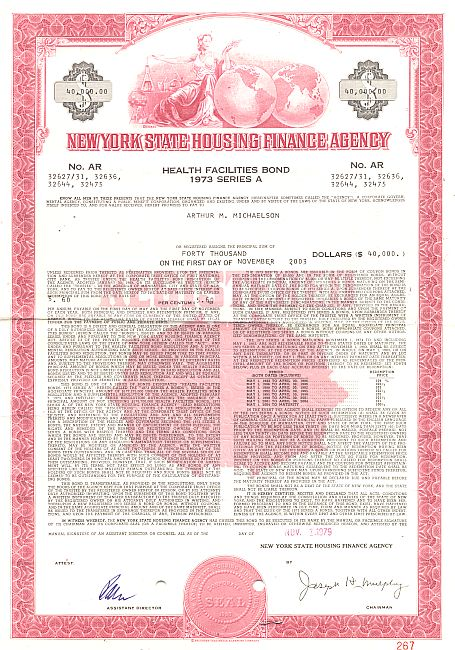 New York State Housing Finance Agency (Health Facilities Bond) historic stocks - old certificates