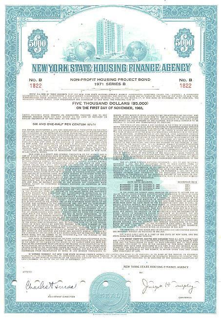New York State Housing Finance Agency (Non Profit Housing Project Bond) historic stocks - old certificates
