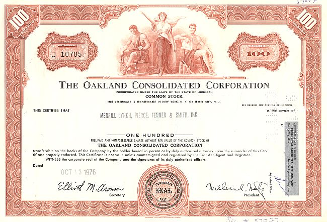 Oakland Consolidated Corporation historic stocks - old certificates
