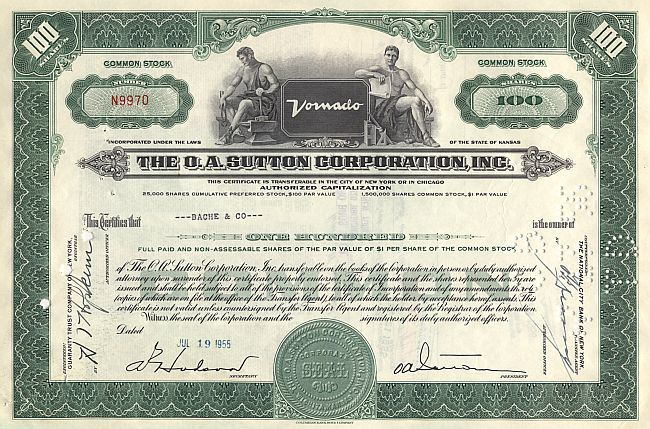 O.A. Sutton Corporation historic stocks - old certificates