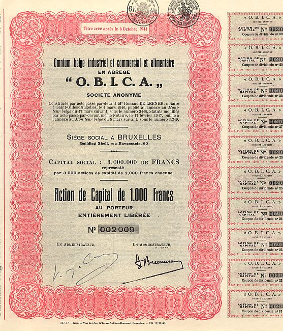 O.B.I.C.A  (Omnium belge industriel et commercial et alimentaire) historic stocks - old certificates
