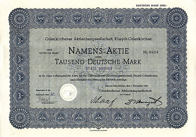 Odenkirchener Aktienbaugesellschaft historic stocks - old certificates