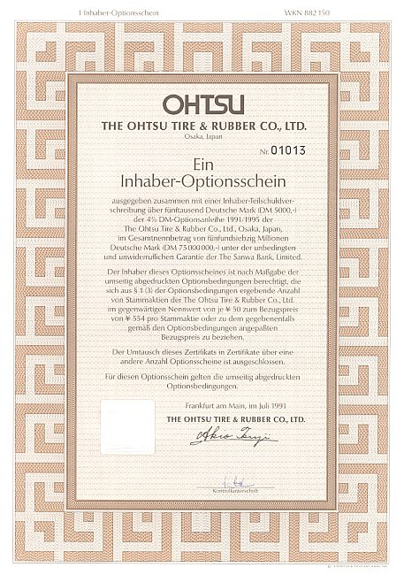 Ohtsu Tire & Rubber Co. historic stocks - old certificates