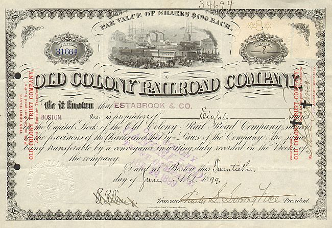 Old Colony Railroad Company (Trust Company)  historic stocks - old certificates