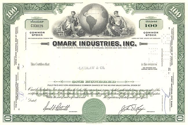 Omark Industries, Inc. historic stocks - old certificates