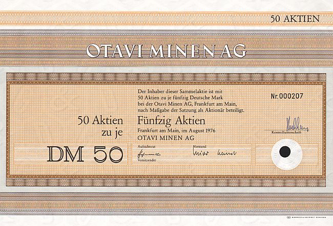 Otavi Minen AG historic stocks - old certificates