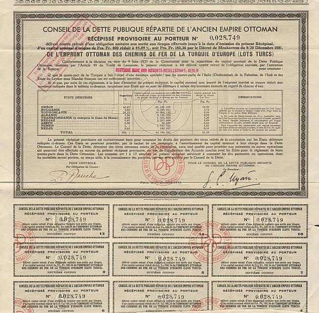 Ottomanische Eisenbahn Récépissé Provisoire -  historic stocks - old certificates Railroads