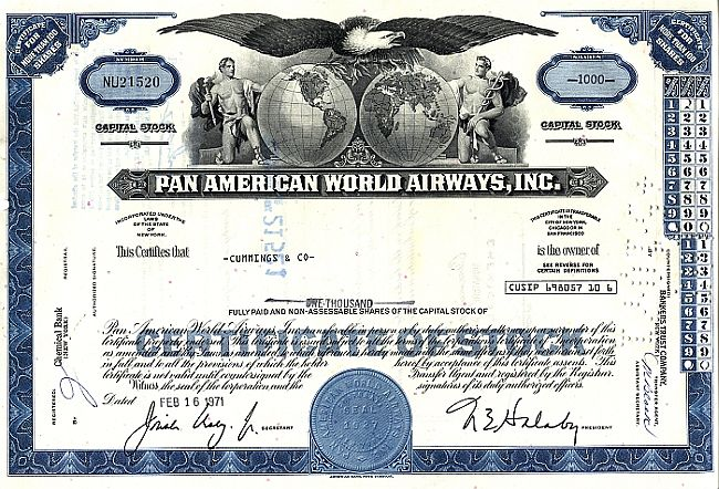 Pan Am World Airways, Inc. (PAN AM) historic stocks - old certificates