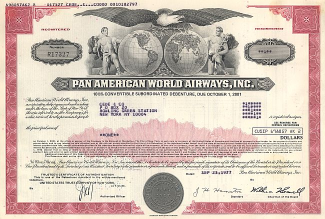 Pan Am World Airways, Inc. (PAN AM) Bond historic stocks - old certificates