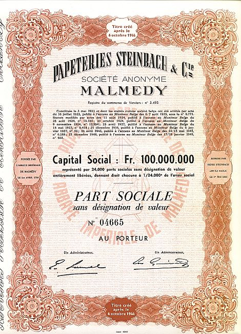 Papeteries Steinbach historic stocks - old certificates