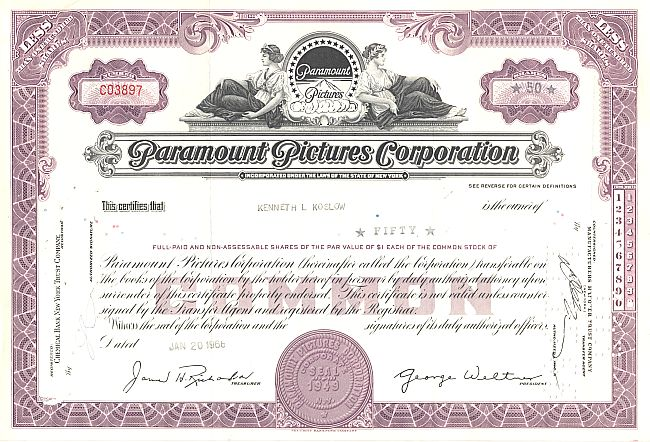 Paramount Pictures Corporation historic stocks - old certificates
