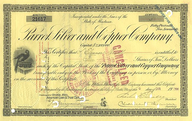 Parrot Silver and Copper Company historic stocks - old certificates