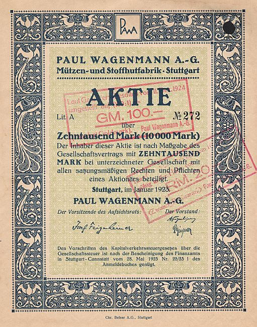 Paul Wagenmann A.-G. (Januar 1923) historic stocks - old certificates