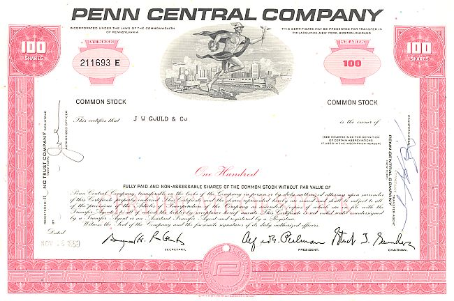 Penn Central Company historic stocks - old certificates