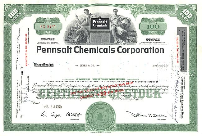 Pennsalt Chemicals Corporation historic stocks - old certificates