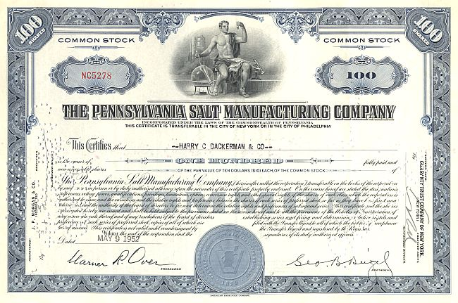 Pennsylvania Salt Manufacturing Company historic stocks - old certificates