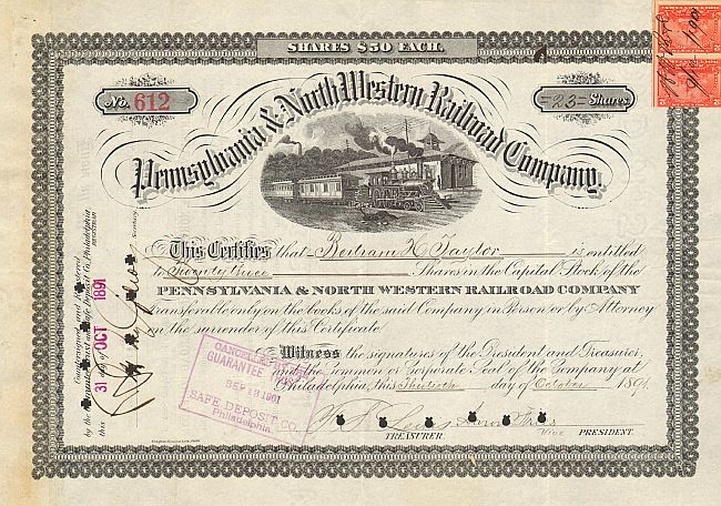 Pennsylvania and North Western Railroad Company historische Wertpapiere - alte Aktien