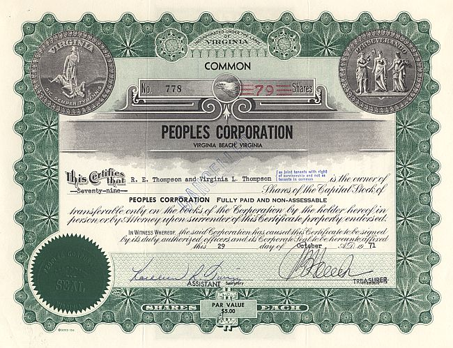 Peoples Corporation historic stocks - old certificates