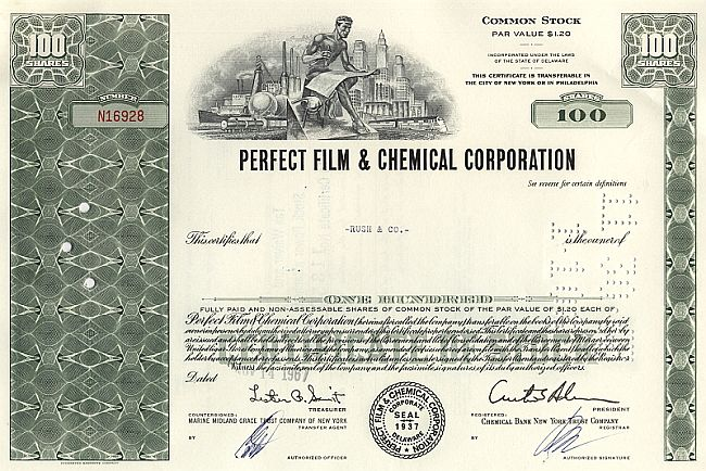 Perfect Film & Chemical Corporation historic stocks - old certificates