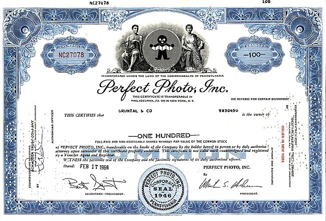Perfect Photo Inc. historic stocks - old certificates