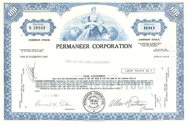 Permaneer Corporation historic stocks - old certificates